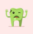 cartoon tooth zombie vector image