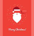 christmas greeting card with santa head vector image