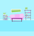 Living room with sofa and flowers vector image