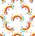 Rainbows Sky and Clouds Seamless Pattern vector image