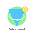 simple sales funnel in green circle with coin vector image