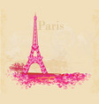 vintage retro eiffel tower abstract card vector image
