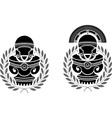 pedestals of roman helmets vector image vector image