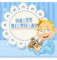 Happy Birthday blue openwork card for your vector image vector image