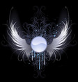 round banner with angel wings vector image vector image