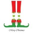 christmas cartoon elfs legs on white background vector image