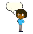 cartoon impressed boy with speech bubble vector image