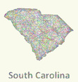 South Carolina line art map vector image
