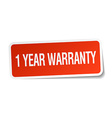 1 year warranty red square sticker isolated on vector image