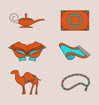 arabic colorful icons set vector image