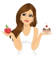 doubtful woman holding an apple and dessert vector image