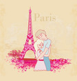 romantic couple in paris - abstract card vector image