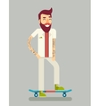 Smiling Adult Man Geek Scooter Happy Hipster vector image