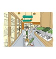 supermarket interior with shopper girl grocery vector image