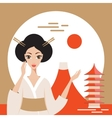 Welcome to Japan banner with Geisha Mountain Fuji vector image
