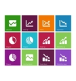 Line chart and Diagram icons on color background vector image vector image