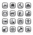 Mining and quarrying industry icons vector image vector image