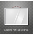 white horizontal photo frame hanging on the wall vector image