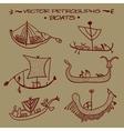 petroglyphs Boats vector image vector image