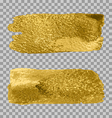 gold paint smear stroke stain set on transparent vector image