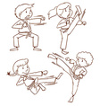 A simple drawing of the people doing martial arts vector image
