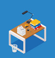 busy cluttered office table hard work office vector image