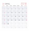 calendar april 2018 vector image