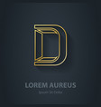 Outline Letter D elegant gold font Template for vector image