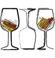 grunge glasses of wine vector image vector image
