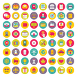 64 Icons in Flat Design Style vector image