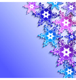 Winter background with 3d colorful snowflakes vector image