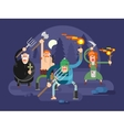 People with torches and pitchforks vector image