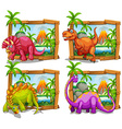 Four dinosaurs in wooden frame vector image