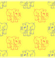 cartoon rhino seamless pattern vector image