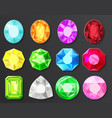 colored gems diamonds set isolated vector image