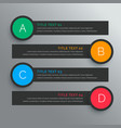 Dark circular options infograph with five steps vector image