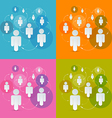 Paper People in Circles Set - Social Media vector image