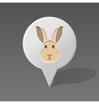 Rabbit pin map icon Animal head vector image