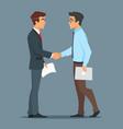two businessman handshake good deal vector image