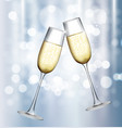 two glass of champagne on glossy background vector image
