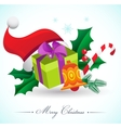Christmas background with gifts and elements vector image