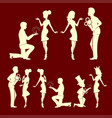 silhouettes of men and girls set vector image