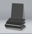 stack of blank black books business mockup vector image