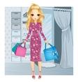 Girl Standing Near Fitting Room vector image