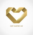 Heart Ribbon Origami Logo Design Template vector image