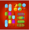 shiny colored medic pills vector image vector image