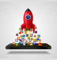 mobile icons app rocket on the white background vector image