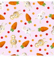 rabbit and carrot on a pink background vector image