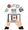 movie online flat line icons vector image