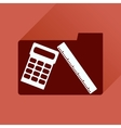 Flat icon with long shadow folder calculator ruler vector image